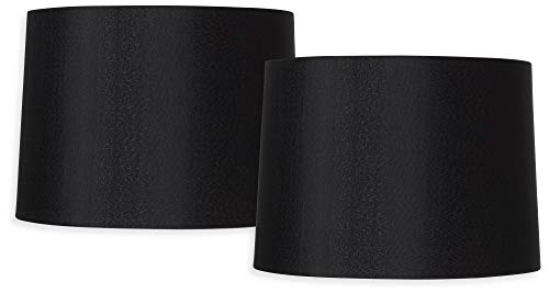 (Black Set of 2 Hardback Drum Shades 13x14x10.25 (Spider) - Brentwood )