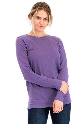 eck Long Sleeve T-Shirt Top Lilac Grey S ()