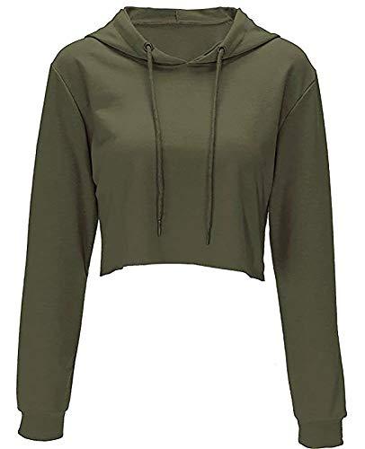 Hoodies for Women Workout Crop Top Hoodie Hooded Pullover Sweatshirt (Army Green, L) ()