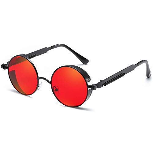 Dollger Vintage Steampunk Sunglasses for Women Men Retro Metal Round Circle Frame Sunglasses(Red Lens/Black - Red Mens Sunglasses