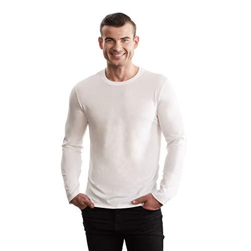 - TRUTH ALONE Men's Long Sleeve Crew Tee, 100% Organic Peruvian Pima Cotton White