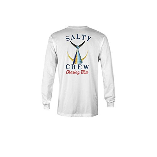 Salty Crew Men's Tailed Long Sleeve Tech T-Shirt, White, X-Large