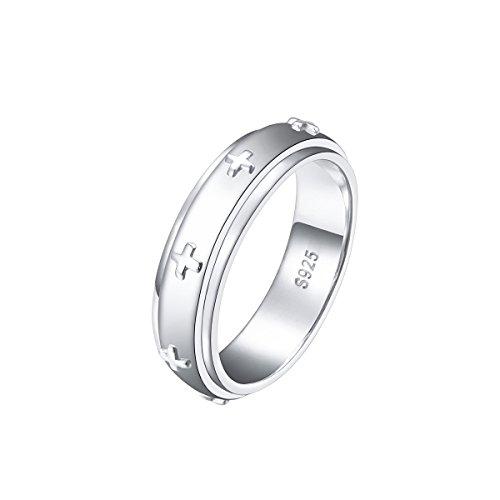DAOCHONG Spinner Ring S925 Sterling Silver Cross Fidget Rolling Ring for Women Men (Sterling Silver Inner Spin Ring)