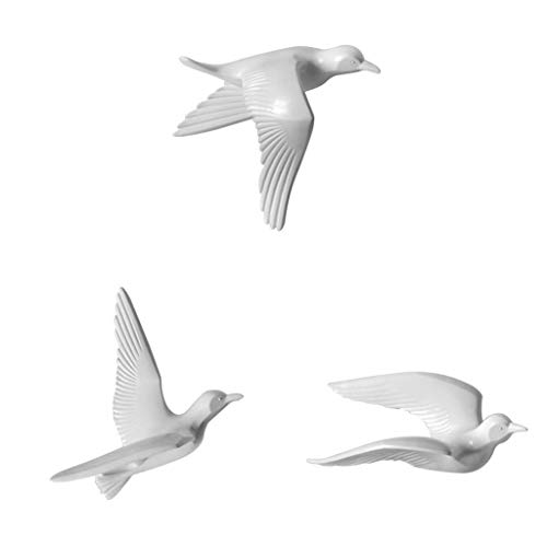 Flameer 3Pcs 3D Resin Seagull Wall Sculptures Mural Home Decor Hanging Decorations White A+B+C
