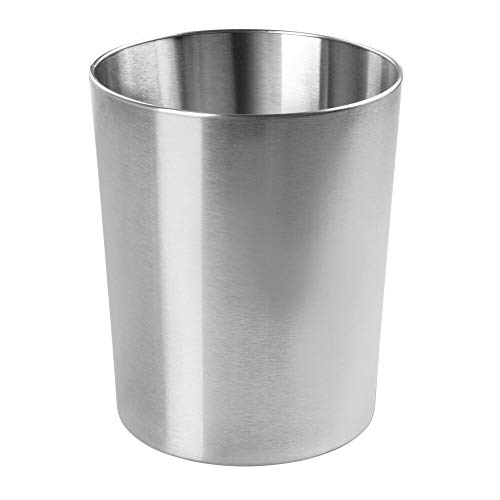 mDesign Round Metal Small Trash Can Wastebasket, Garbage Container Bin for Bathrooms, Powder Rooms, Kitchens, Home Offices - Durable Stainless Steel - Polished