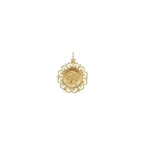 14k Yellow Gold 18 mm Round Guardian Angel Pendant Medal