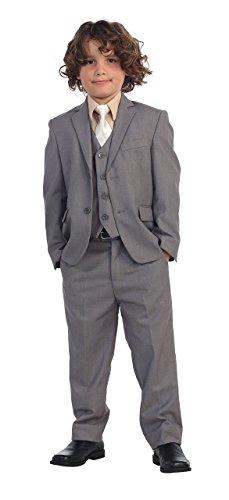 5 Pc Little Boys Gray Suit, Vest, Pants, Khaki Shirt & Ivory Solid Tie 3T