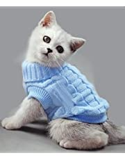 Doggie Style Store Blue Plain Knitted Cat Kitten Pet Jumper Sweater Knitwear – 6 Sizes