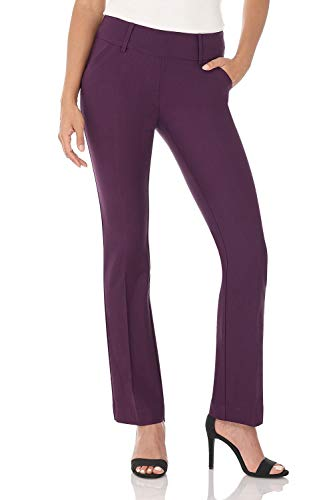 Rekucci Women's Ease in to Comfort Fit Classic Bootcut Pant w/Tummy Control (14,Deep Plum)