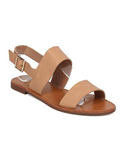 Breckelle's Women Slingback Flat Sandal - Casual, Lounge, Summer - Open Toe Sandal - GG21 Natural (Size: 10)
