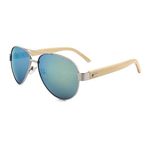 con Gafas de de Gafas y Brazo de bambú Silicona Metal Color Marco Unisex Gafas Oro Arrastre de de con Green bambú Lentes Nariz sol polarizadas 4qZr4wv
