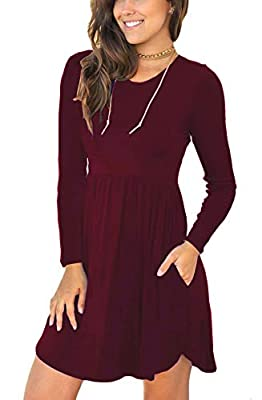 Alizco Women's Long Sleeve Loose Plain Dresses Casual Dress with Pockets