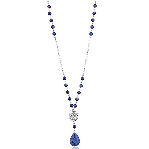 Deep Blue Lapis Pendant - 925 Sterling Silver Long Round Beaded Blue Lapis Lazuli Pear Shape Pendant, 26 inches