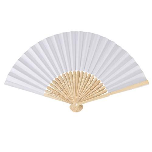 Professional 10 Pcs Blank White Chinese Folding Bamboo Fan Retro Hand Paper Fans, Hand Fan Bamboo - Folding Fan Bamboo, Hand Fan White, Bamboo Blanks, Bamboo Hand Fan, Paper Folding Fan White by Buy Now !!!