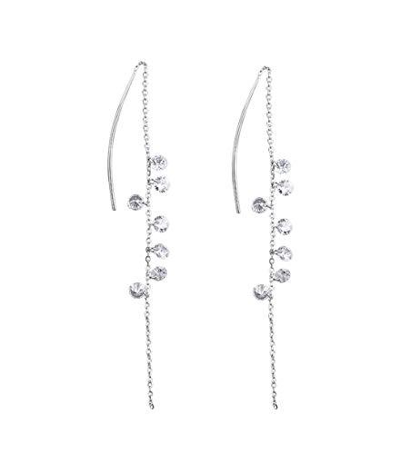 FarryDream 925 Sterling Silver CZ Droplet Dangle Earrings Chain for Women Threader ()