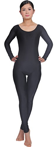 [Speerise Unitard Bodysuit Long Sleeve Spandex for Women Dance Costume, M, Black] (Black Bodysuit Costume)