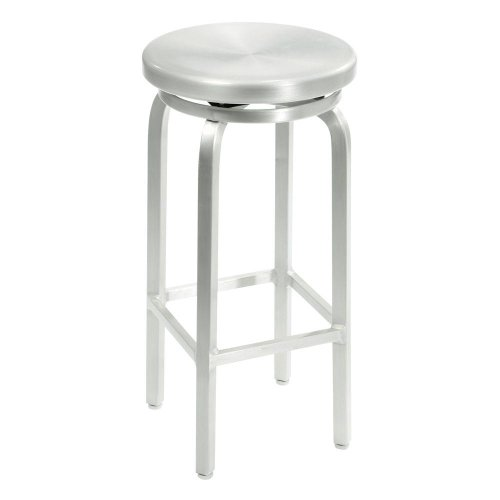Melanie Swivel Bar Stool, SWIVEL, BRUSHED ALUMINM (Barrel And Crate Stools Aluminum)