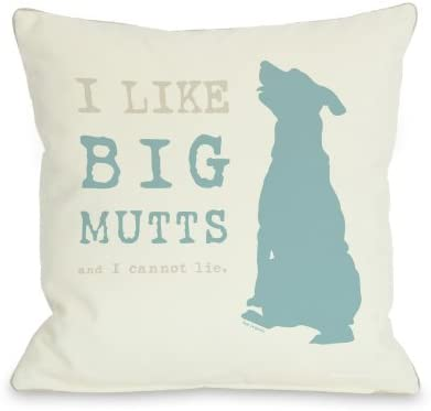 One Bella Casa I Like Big Mutts Cream Throw Pillow, 18 by 18-Inch