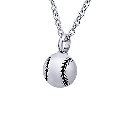 Baseball Stainless Steel Round Urn Pendant
