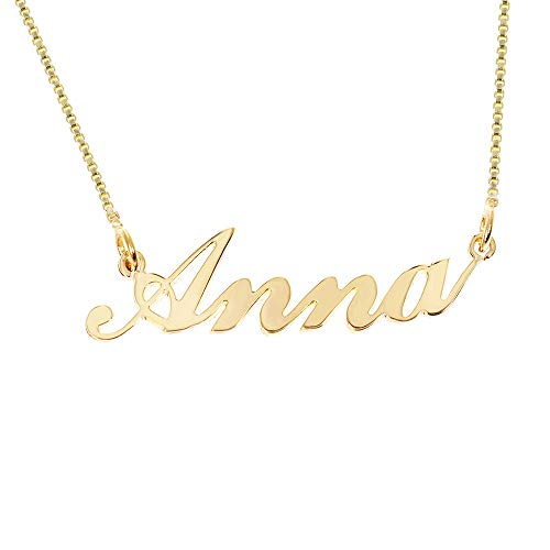 Iprome Custom Personalized Initial Birthstone Name Necklace Pendant with Box Chain 18K Gold Gifts for Women (Anna) ()