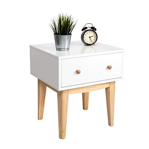 Kinbor Side End Table Nighstand with Drawer, Bedside End Table Bedroom Side Table, Modern Accent Table, Sturdy and Easy - White Nightstand Mission