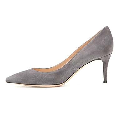 Sammitop Women's 6.5cm Classic Kitten Heel Pumps Pointed Toe Mid Heel Dress Shoes Gray US6
