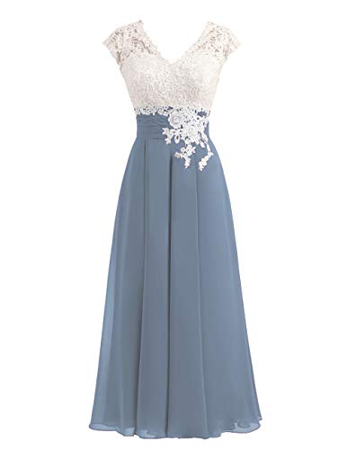 Women's Ivory Lace Top Chiffon Button V-Neck Bridesmaid Dresses with Cap Sleeves Mother of The Bride Dresses (Dusty Blue, -