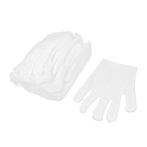 eDealMax Travail de Travail Stretchy Plein doigts Gants de Protection 10 paires blanches