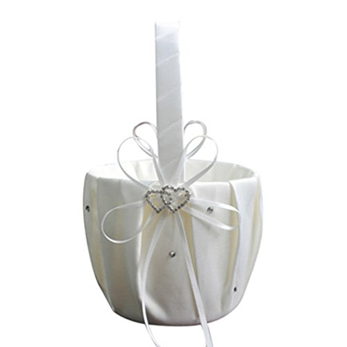 (MIOIM Double Heart Wedding Flower Girl Basket Wedding Flower Basket White Satin Rhinestone Decor Red Wedding Ceremony Party)