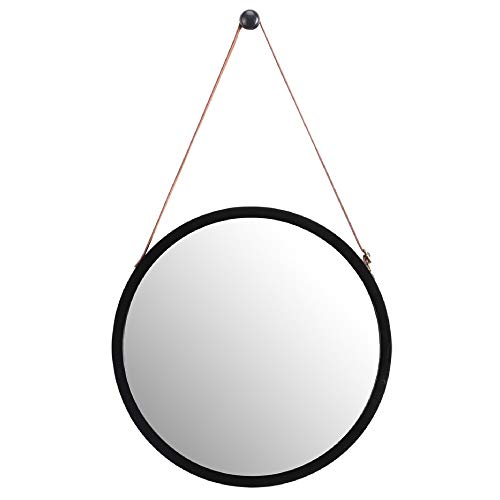 WILSHINE Small Black Round Wall Mirror with Frame for Entryway Living Room Office Modern Lightweight with Faux Leather Strap, 15
