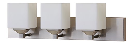 LB74115 LED 3-Light Bath Vanity Light, Brushed Nickel, Opal Glass, 25-Watt (180W Equvi.) 4000K Cool White, 1750 Lumens, 24