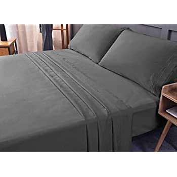 King Bed Sheet Set - Bamboo,Cooling Sheets, Eco-Friendly, Non-allergenic, Fade Resistant, Wrinkle Free, Ultra Soft, Shrink Resistant,Deep Pocket Bedding Sheets - 4 Piece set (Gray, King/Cal King)