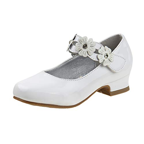 Josmo Girl\'s Dressy Patent Low Heel Shoe with Glitter and Stone Buckle (Little Kid, Big Kid) (2 M US Little Kid, White Flower)'