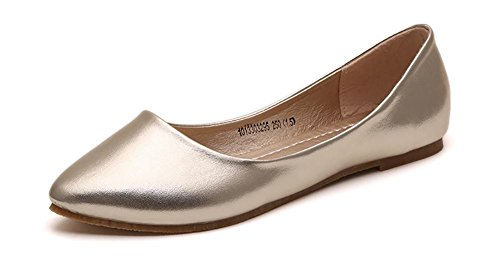 IF FEEL Women's Leather Gold Casual Pointy Toe Soft Solids Ballet Walking Flats Shoes - Size 8 by IF FEEL
