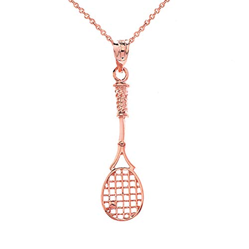 (CaliRoseJewelry 14k Tennis Racquet Charm Pendant Necklace in Rose Gold, 18