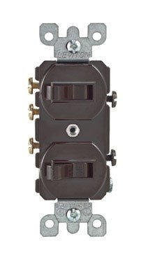 Leviton 5241 15 Amp, 120/277 Volt, Duplex Style Single-Pole/3-Way Ac Combination Switch, Commercial Grade, Brown
