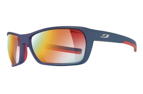 Julbo Blast Performance Sunglasses, Dark Blue/Red, Zebra Light Fire Lens (Zebra Anti Fog Photochromic Lens)