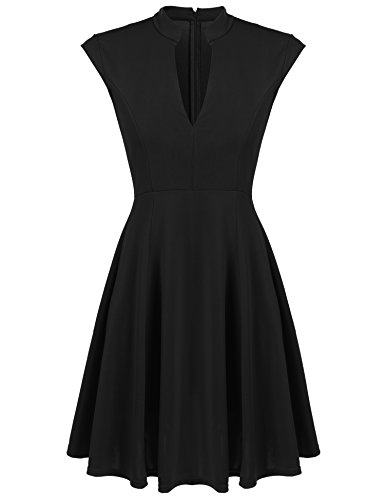 ACEVOG-Women-Cap-Sleeve-V-Neck-Pleated-Skater-Cocktail-Dress