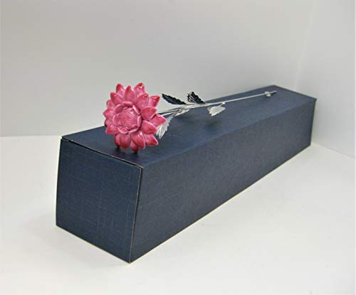 - Italian Silver & Painted Porcelain Pink Long STEM Sunflower