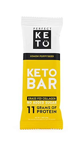 New! Perfect Keto Bar, Keto Snack (12 Count), No Added Sugar. 10g of Protein, Coconut Oil, and Collagen, with a Touch of Sea Salt and Stevia. (12 Bars, Lemon Poppyseed) ()