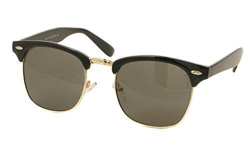 Designer Inspired Classic Half Frame Horned Rim Wayfarer Sunglasses (Black Glossy Gold, - Frame Gold Wayfarer Sunglasses