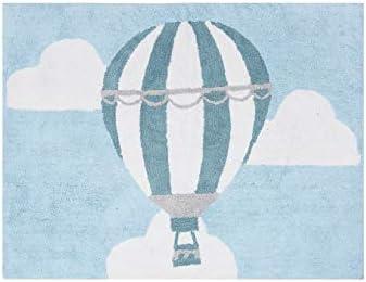 Aratextil. Alfombra Infantil 100% Algodón lavable en lavadora Colección globo celeste 120x160 cms: Amazon.es: Bebé
