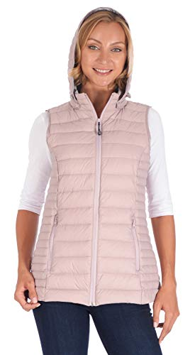 Polar Glacier Woman's Hooded Premium Down Vest (Pink, 2X)