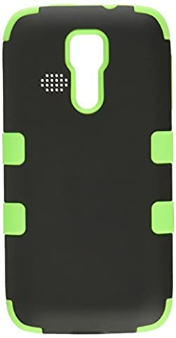 Asmyna Rubberized TUFF Hybrid Phone Protector Cover for Kyocera C6730 Hydro Icon - Retail Packaging - Black/Electric (Zte Warp Sync Rubber Phone Case)