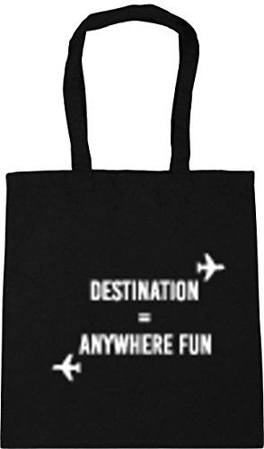 Gym litres 42cm Beach HippoWarehouse Shopping Fun 10 Black Destination Tote Bag Anywhere x38cm CXXwgq4