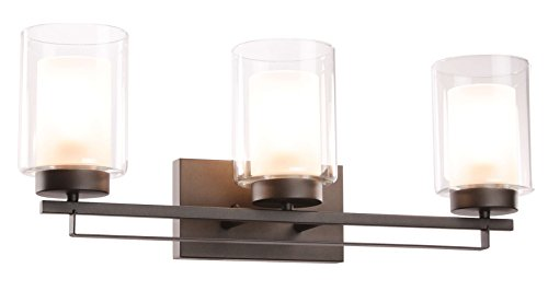 (Wall Light 3 Light Bathroom Vanity Lighting with Dual Glass Shade in Dark Bronze Indoor Wall Mount Light XiNBEi-Lighting XB-W1195-3-DB)
