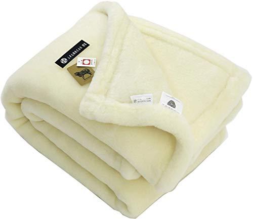 掛け シングル メリノ ウール マイヤー毛布 ウールマーク付き公式 三井毛織国産 洗える ホワイト 140x200cm B07H9FF1W9