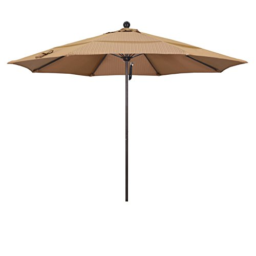 California Umbrella 11' Round Aluminum/Fiberglass Umbrella, Pulley Lift, Bronze Pole, Olefin Terrace Sequoia