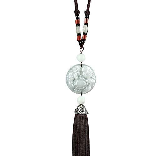 (bjlongyi Double Side Car Lucky Blessing Pixiu Buddha Pendant Tassel Auto Hanging Ornament - 2)