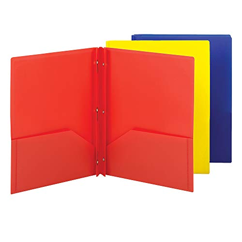 Smead Poly Two-Pocket Folder, Three-Hole Punch Prong Fasteners, Letter Size, Assorted Colors, 3 per Pack (87738) (Plastic Double Pocket Folder)